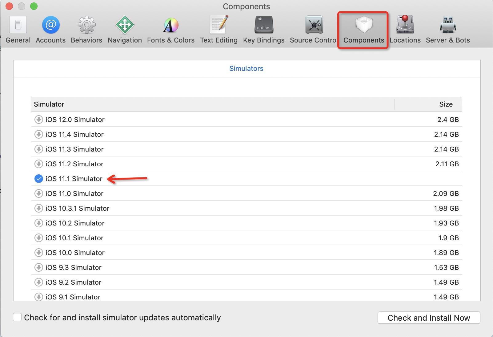安装iOS11的模拟器