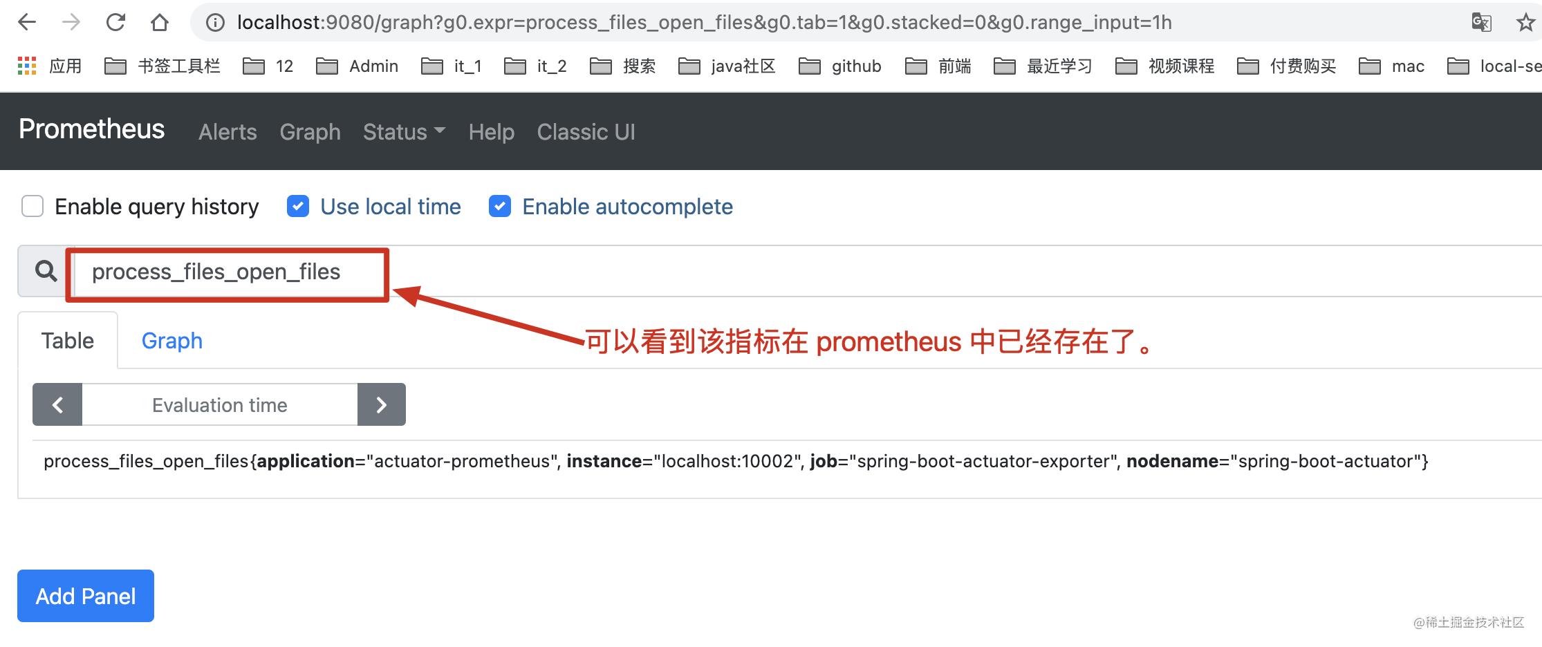 在 prometheus 中查看指标数据
